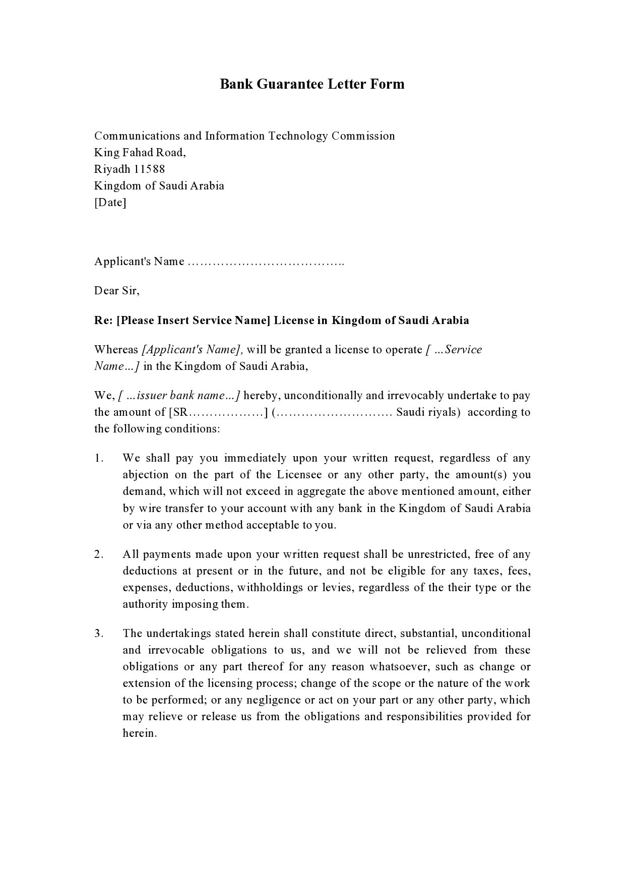 Free letter of guarantee 08