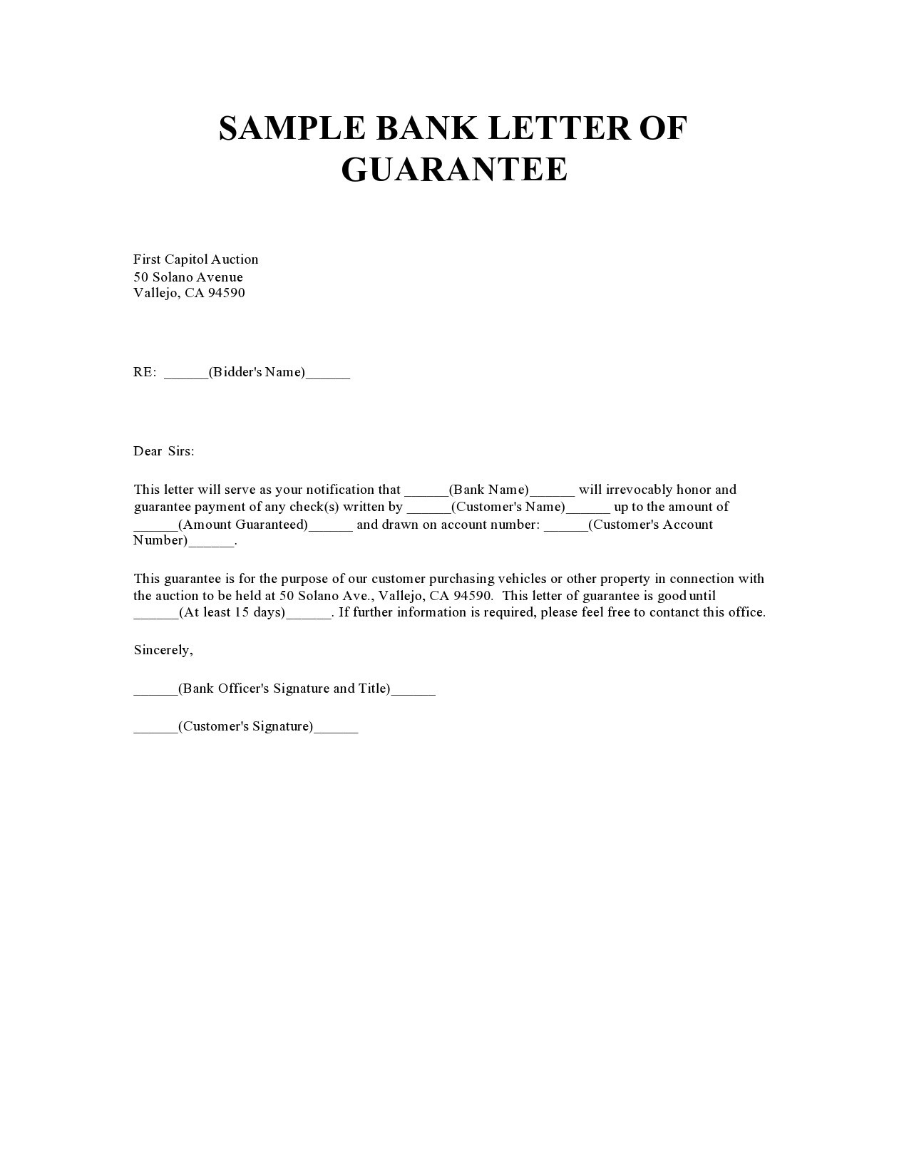 Free letter of guarantee 09