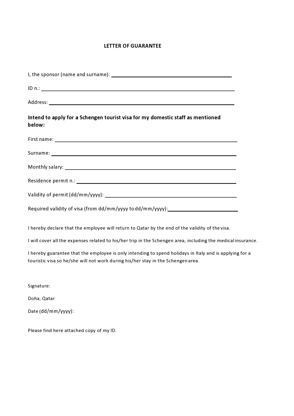 Free letter of guarantee 12
