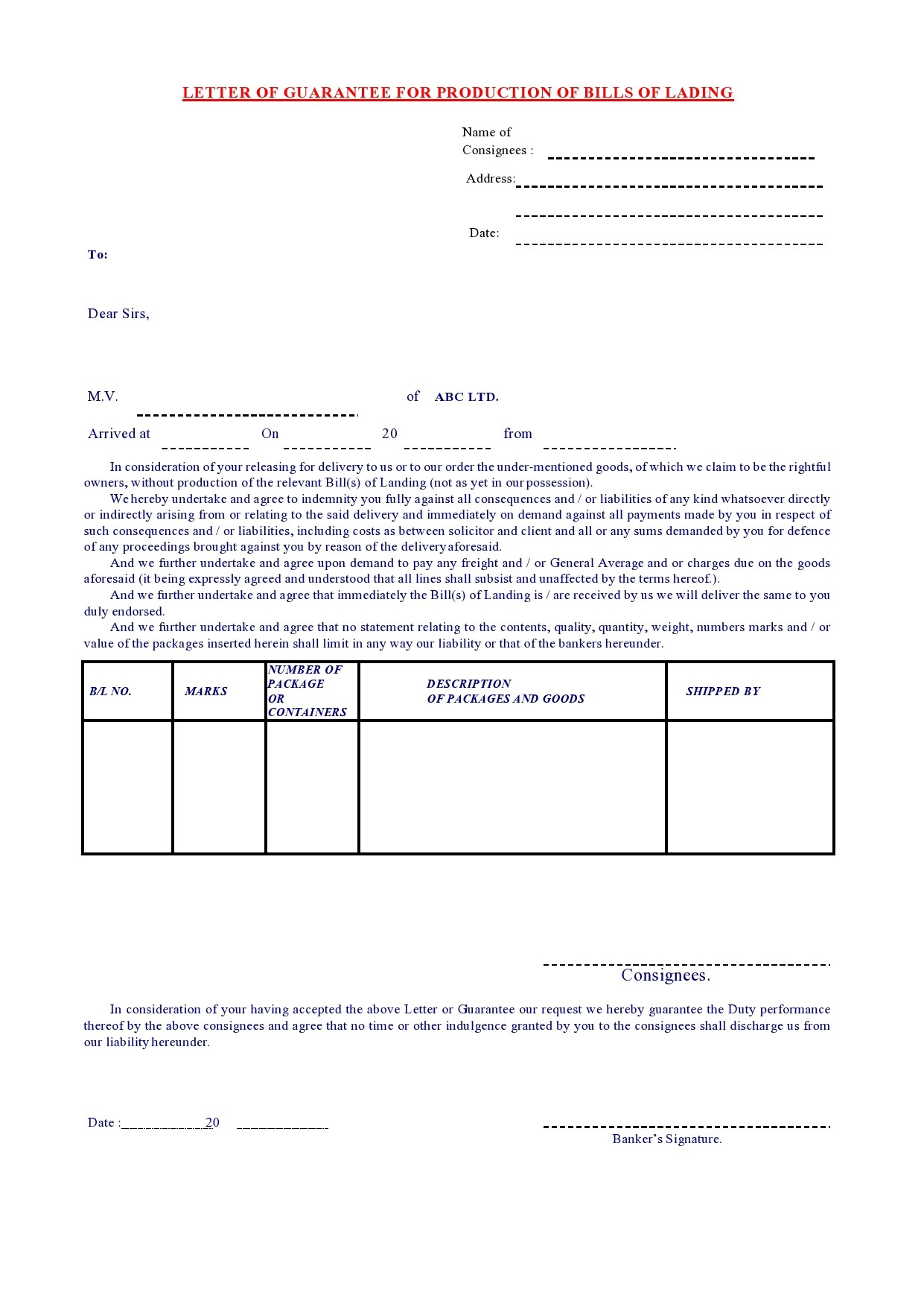 Free letter of guarantee 14