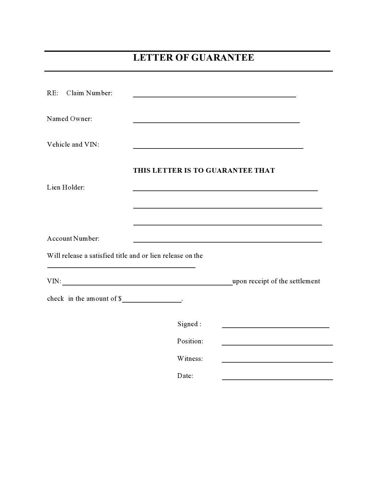 Free letter of guarantee 19