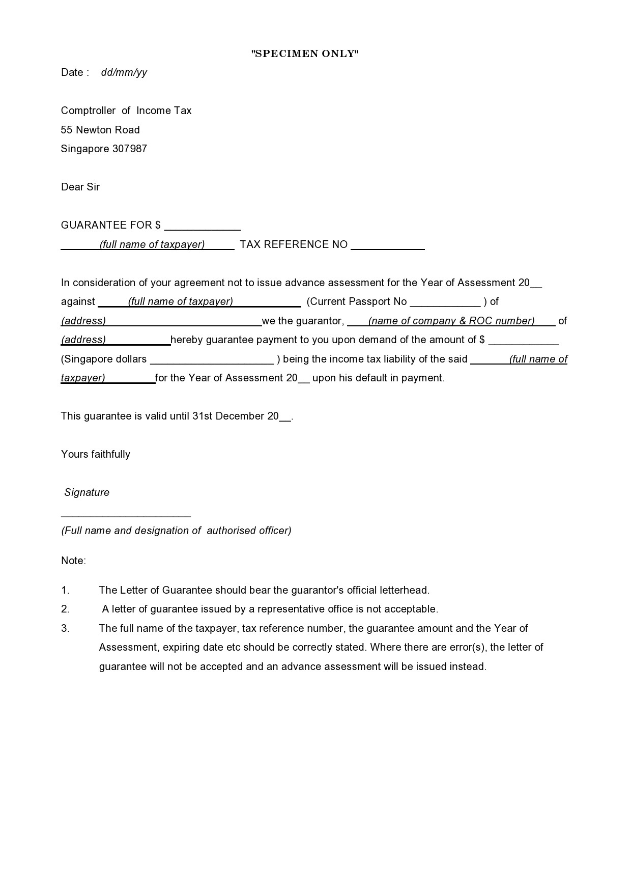 Free letter of guarantee 27
