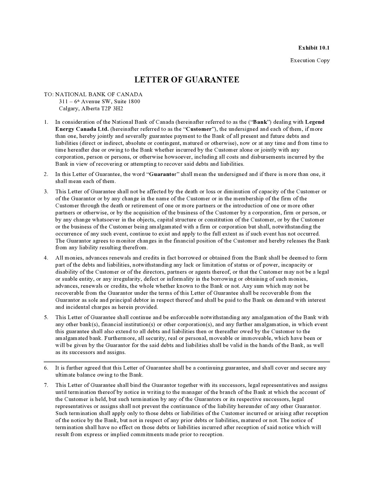 Free letter of guarantee 33