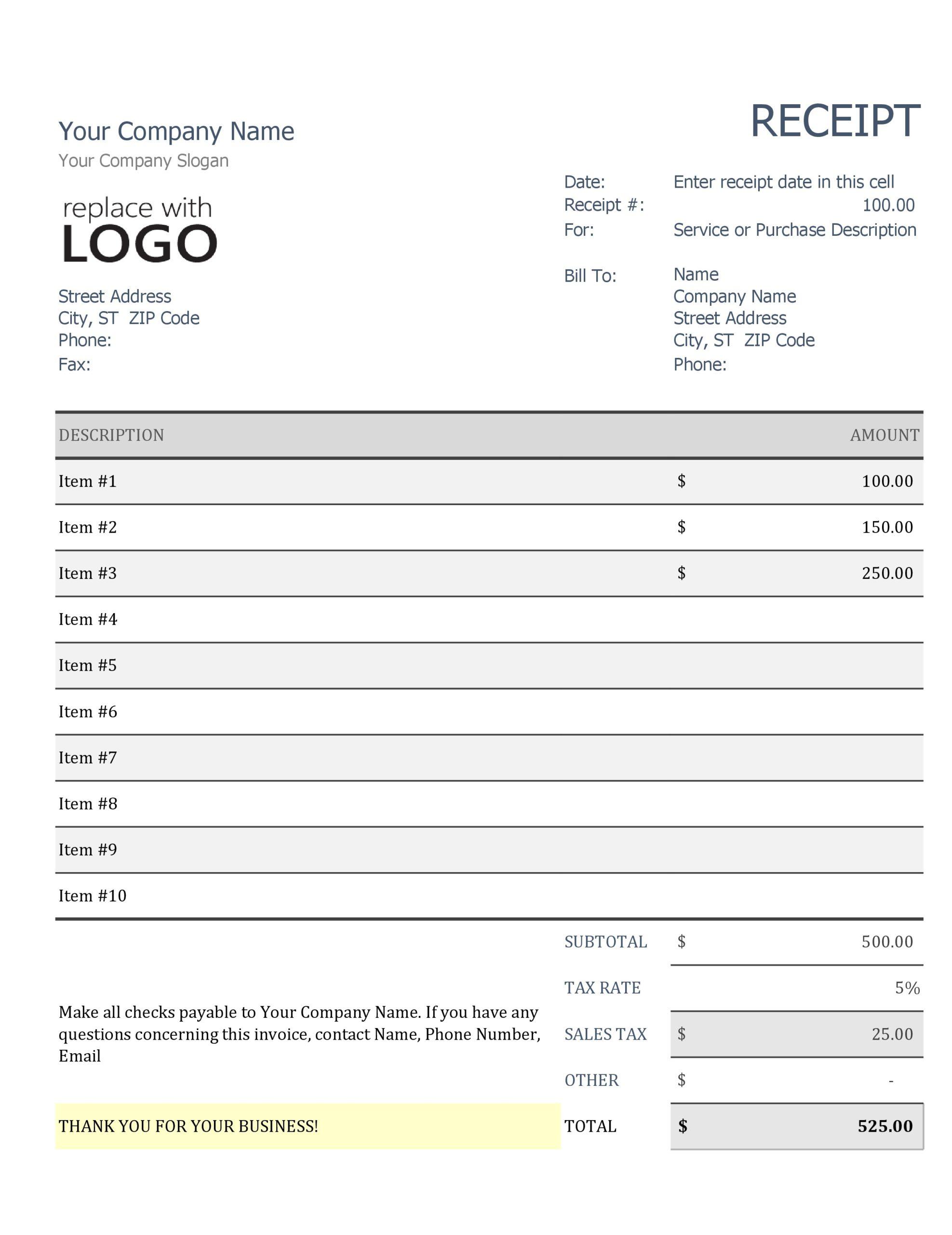 Free purchase receipt 28