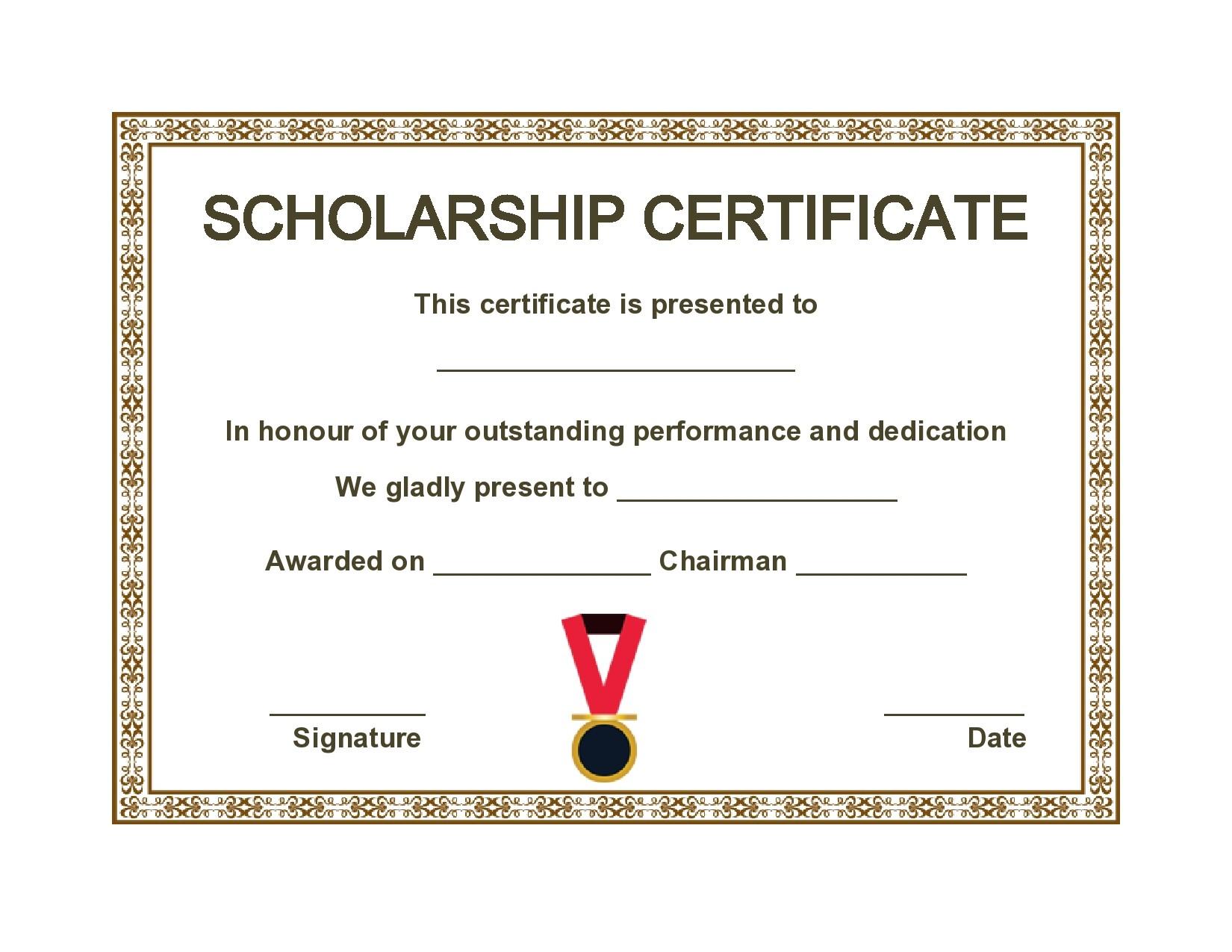 Free scholarship certificate 03