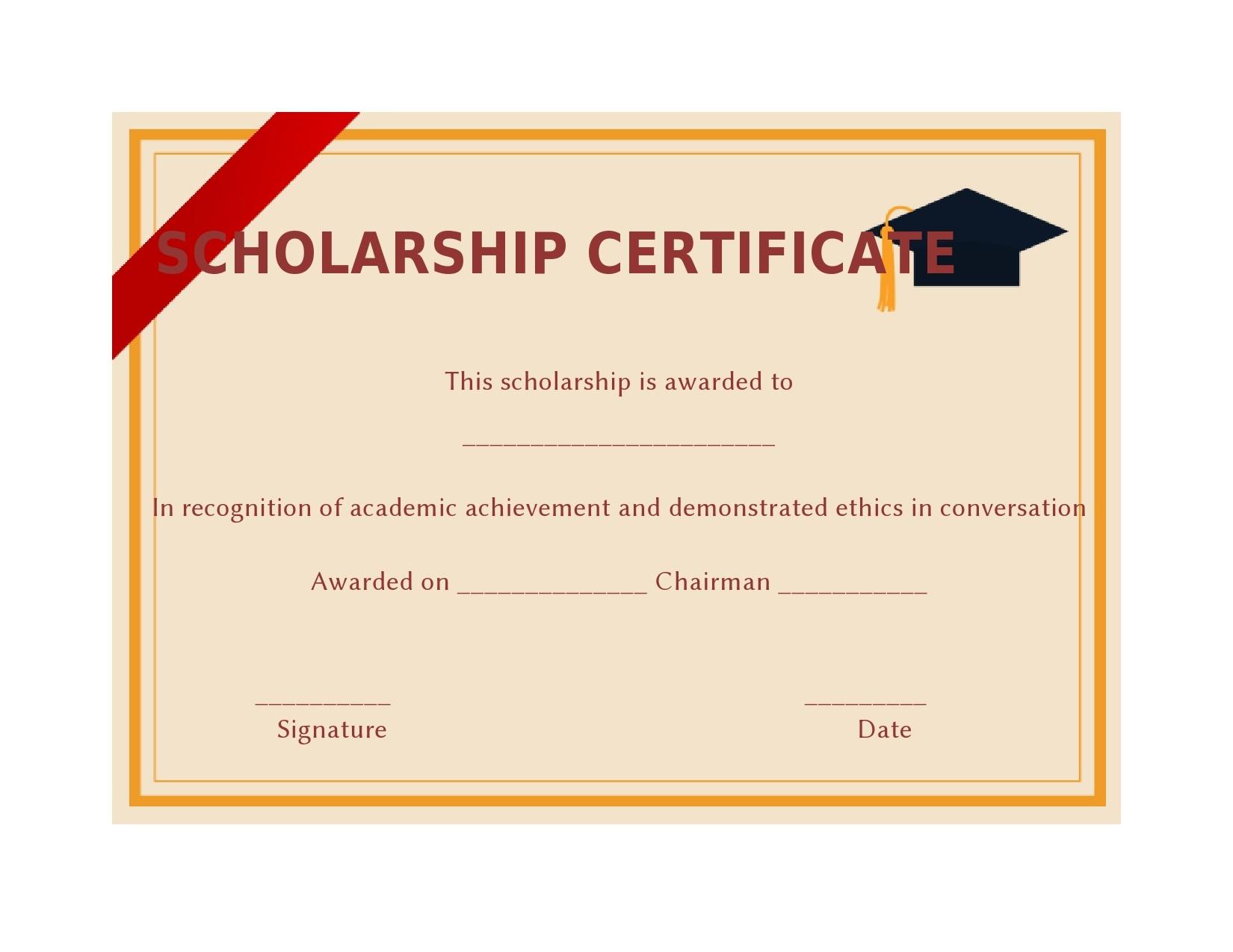 Free scholarship certificate 04