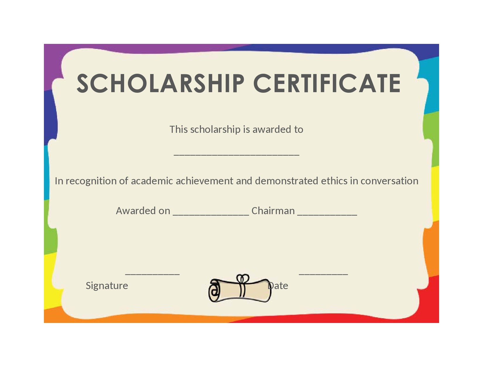 Free scholarship certificate 05