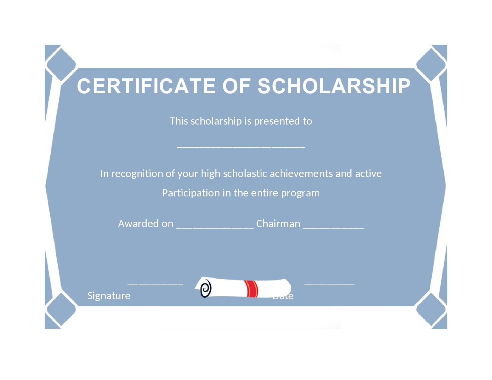 Free scholarship certificate 07