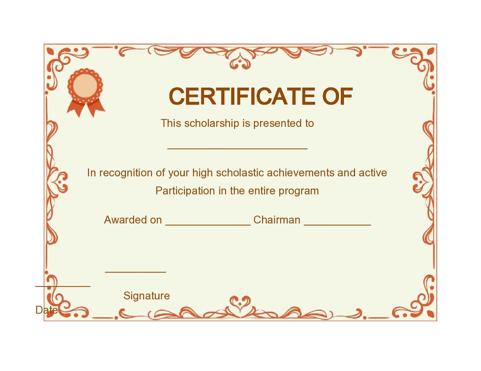 Free scholarship certificate 08
