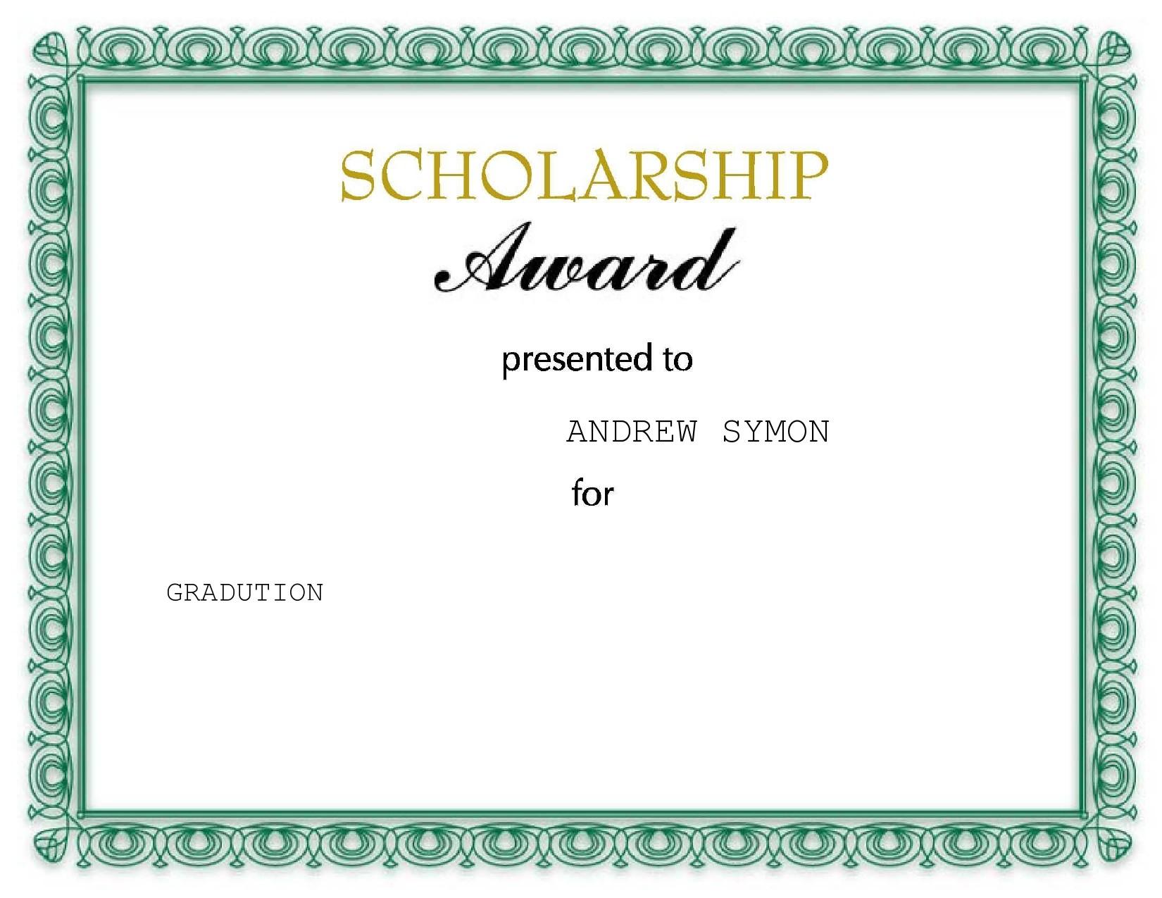 Free scholarship certificate 09