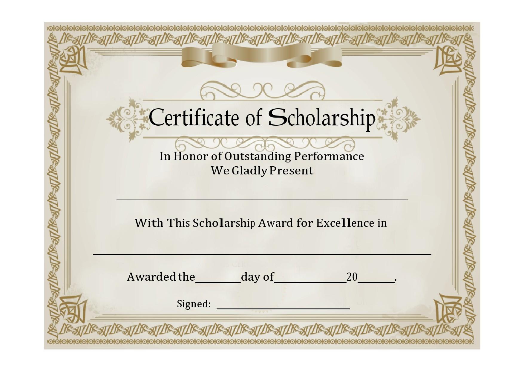 Free scholarship certificate 10