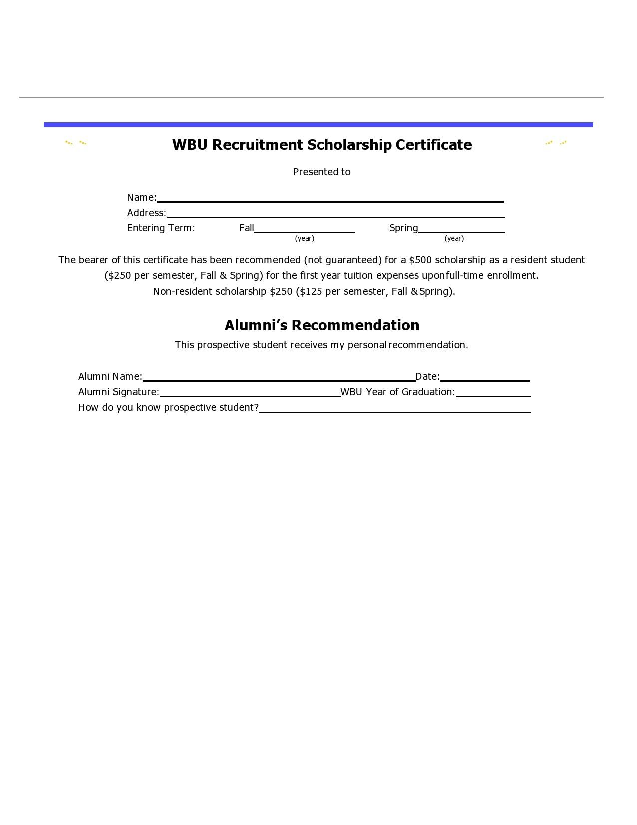 Free scholarship certificate 11