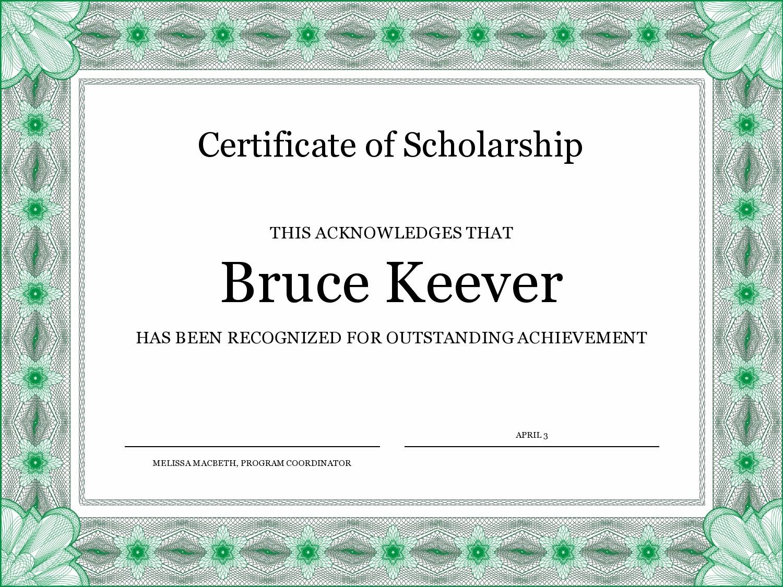 Free scholarship certificate 12