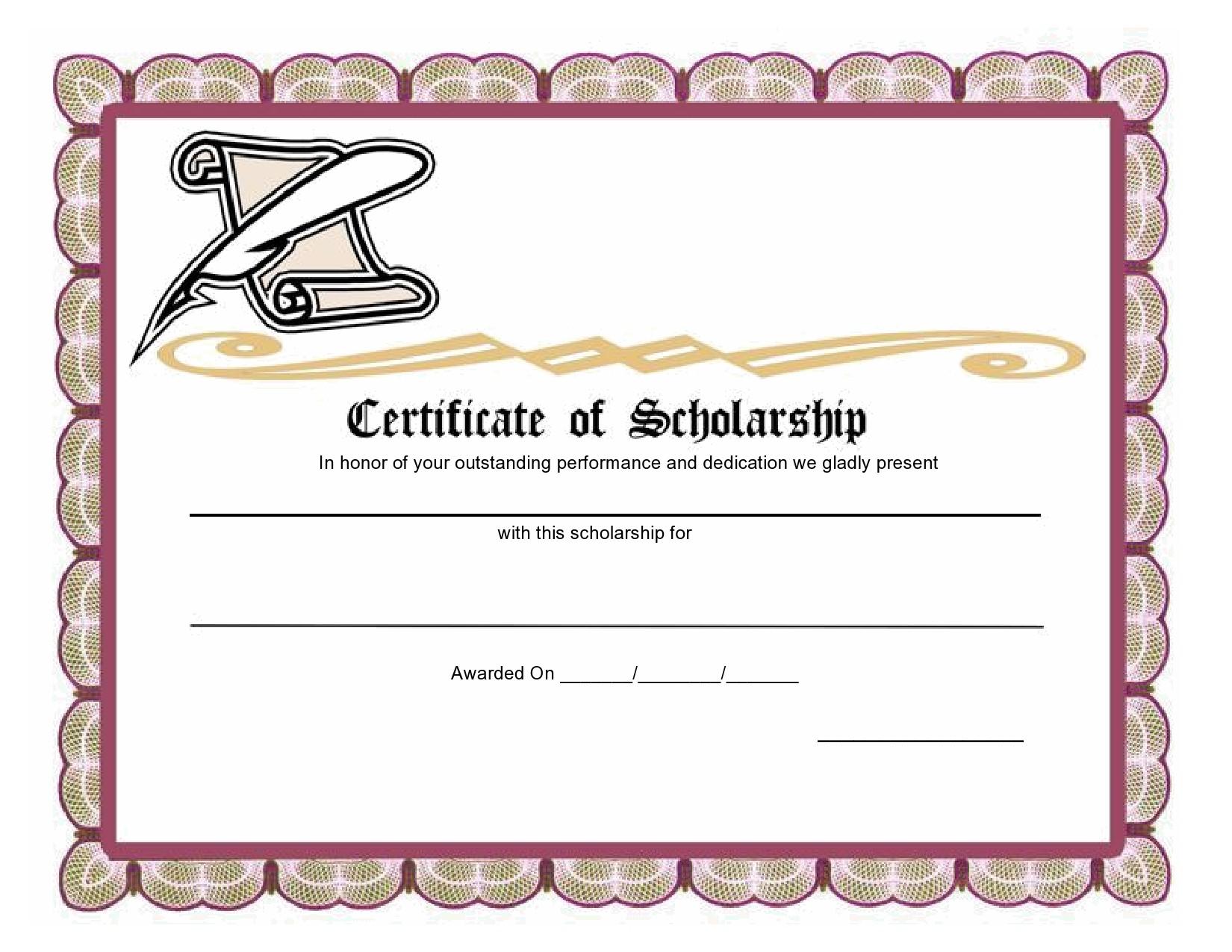 Free scholarship certificate 14