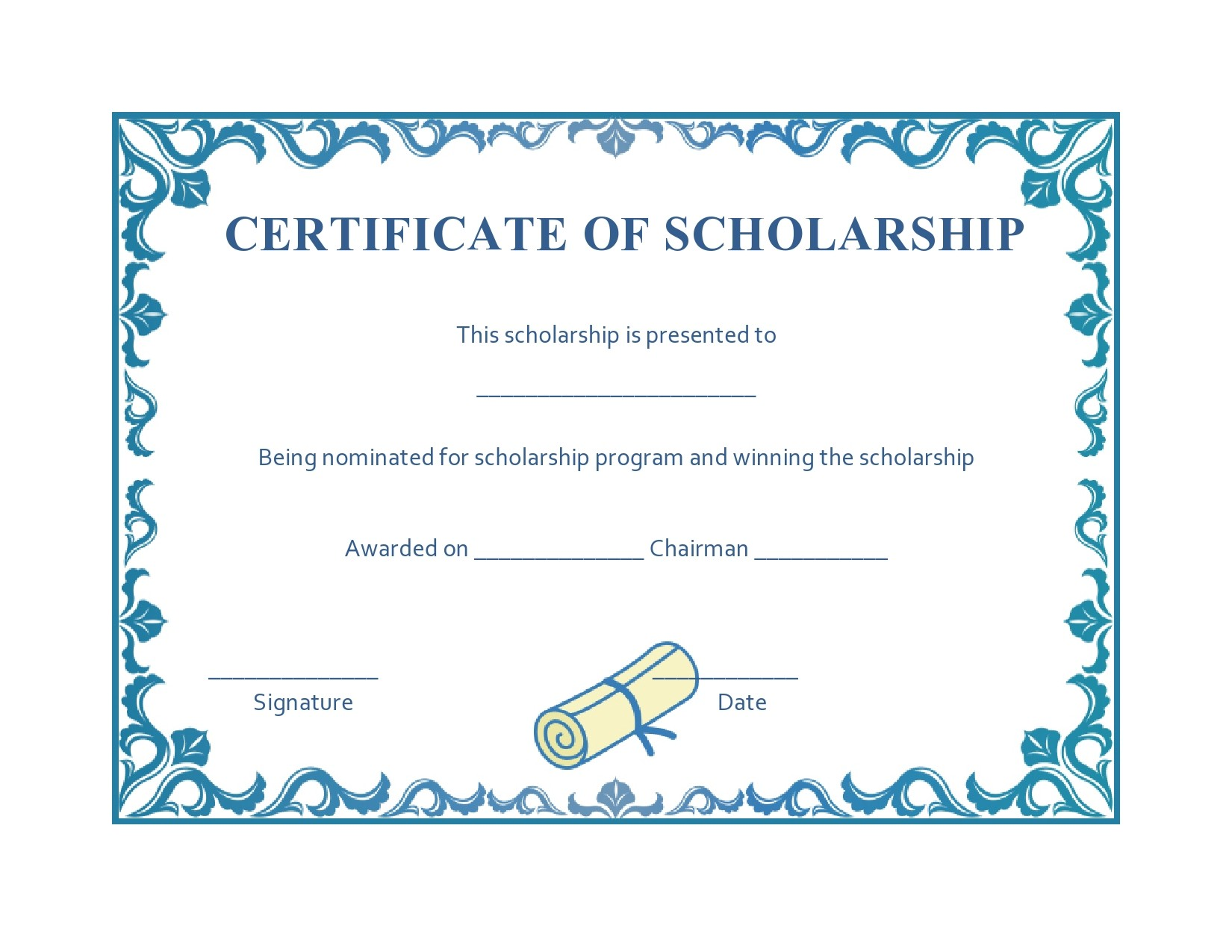 Free scholarship certificate 16