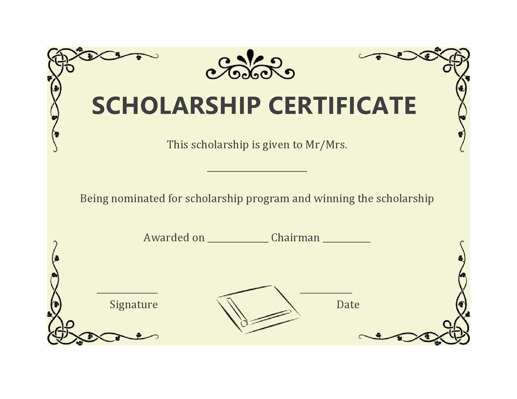 Free scholarship certificate 17