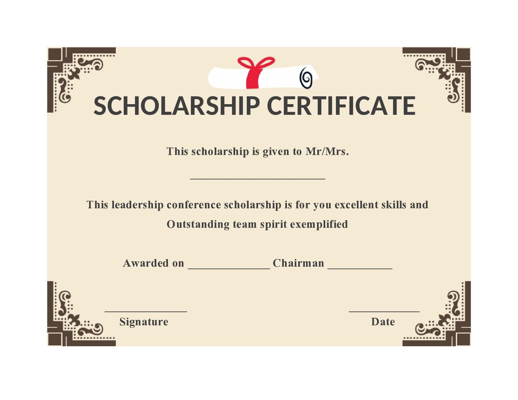 Free scholarship certificate 18