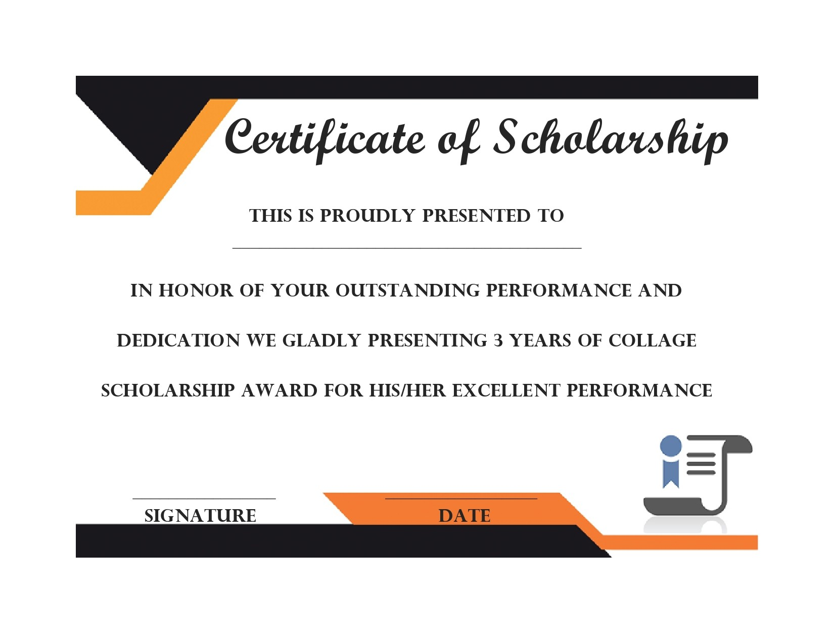 Free scholarship certificate 19