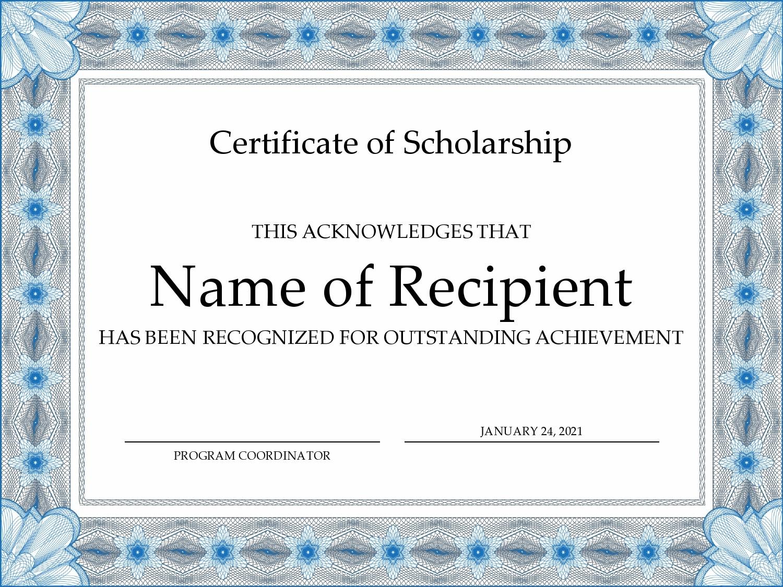 Free scholarship certificate 20