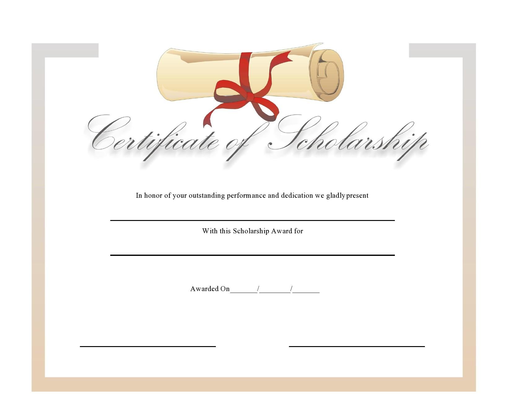 Free scholarship certificate 21