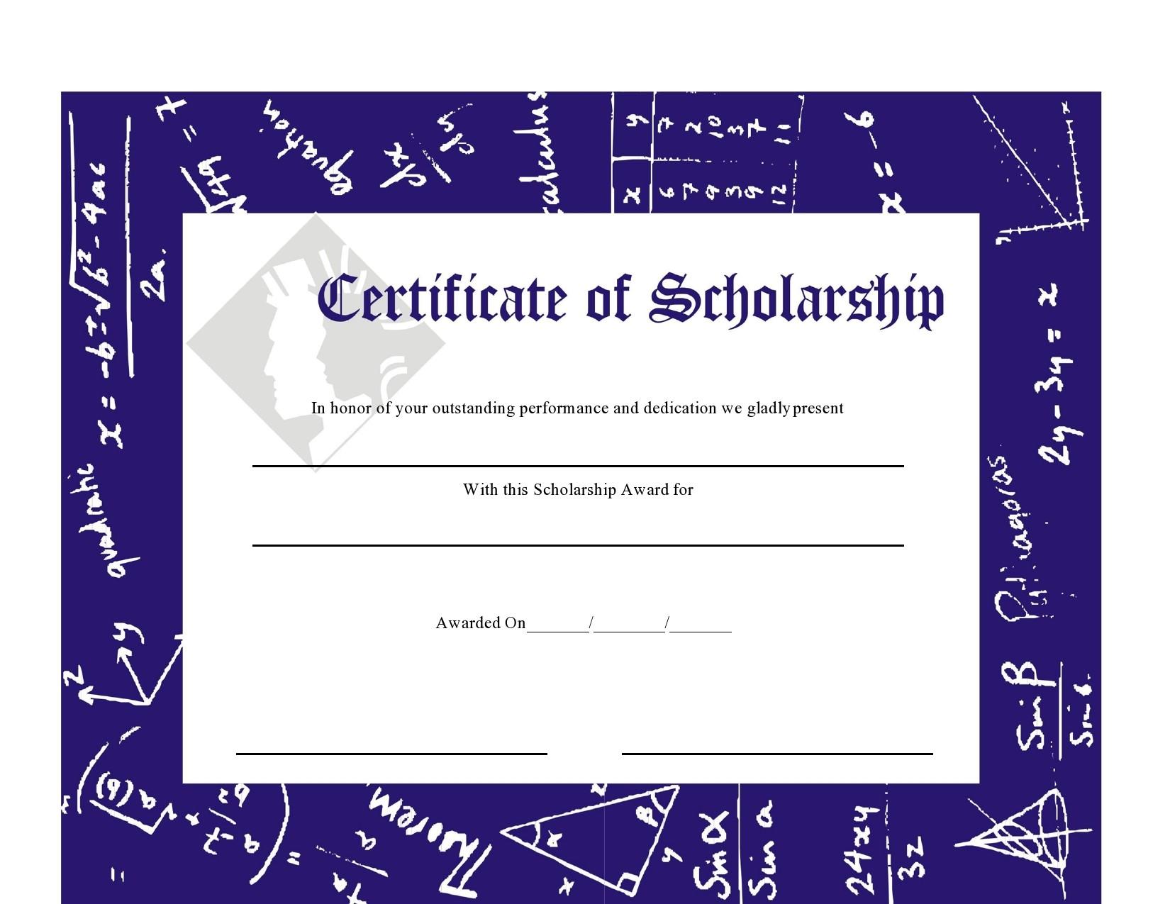 Free scholarship certificate 22