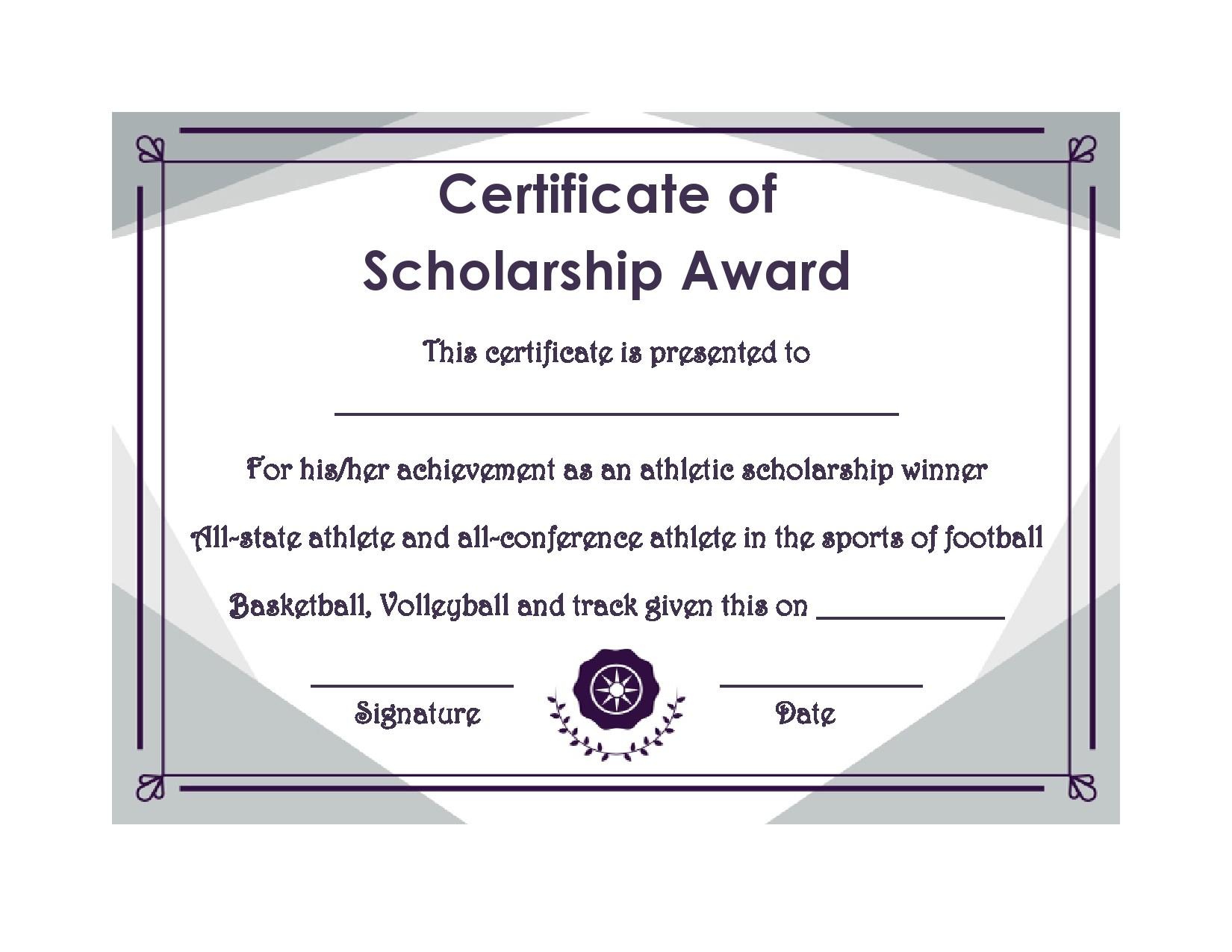Free scholarship certificate 23