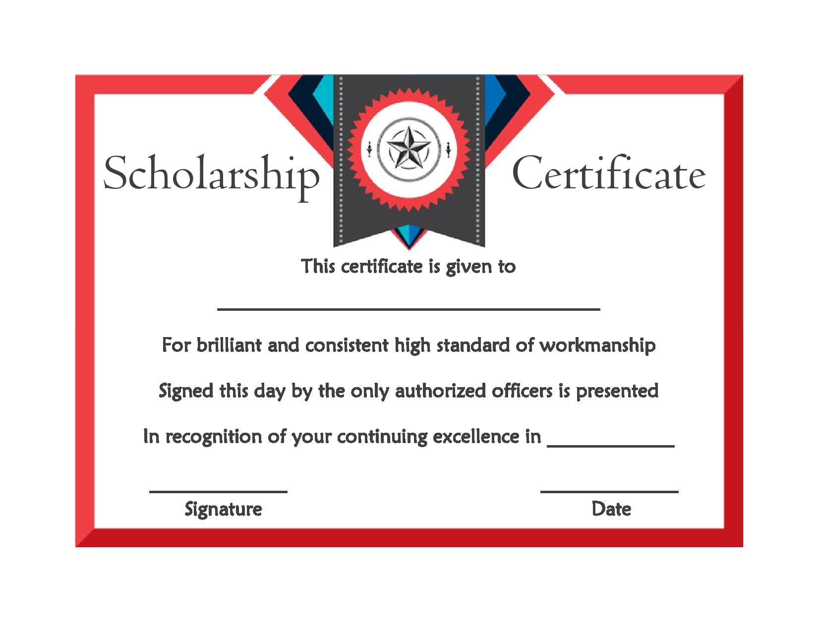 Free scholarship certificate 24