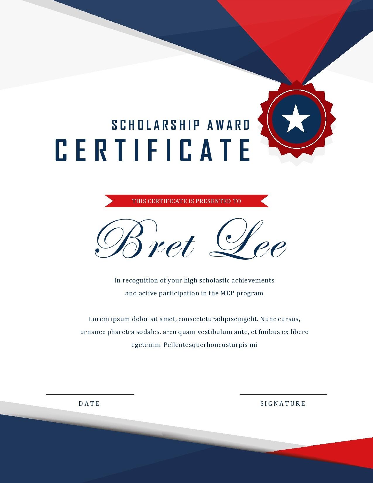 Free scholarship certificate 25