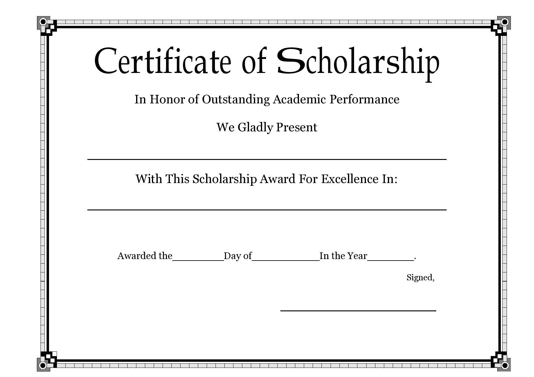 Free scholarship certificate 27