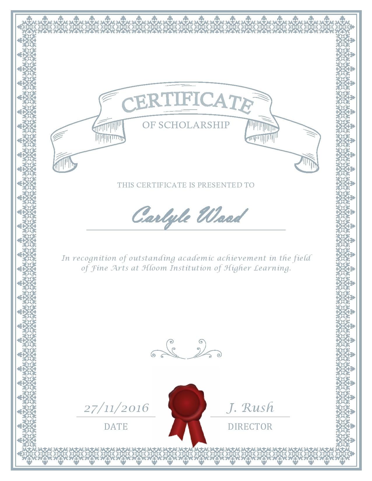 Free scholarship certificate 30