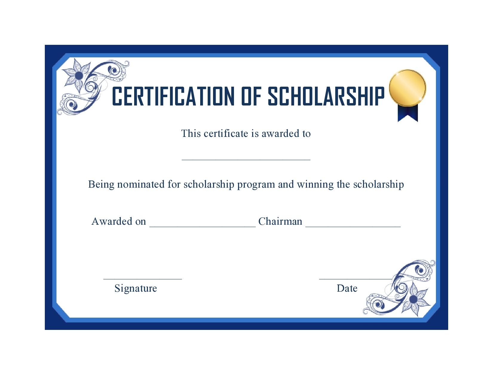 Free scholarship certificate 31