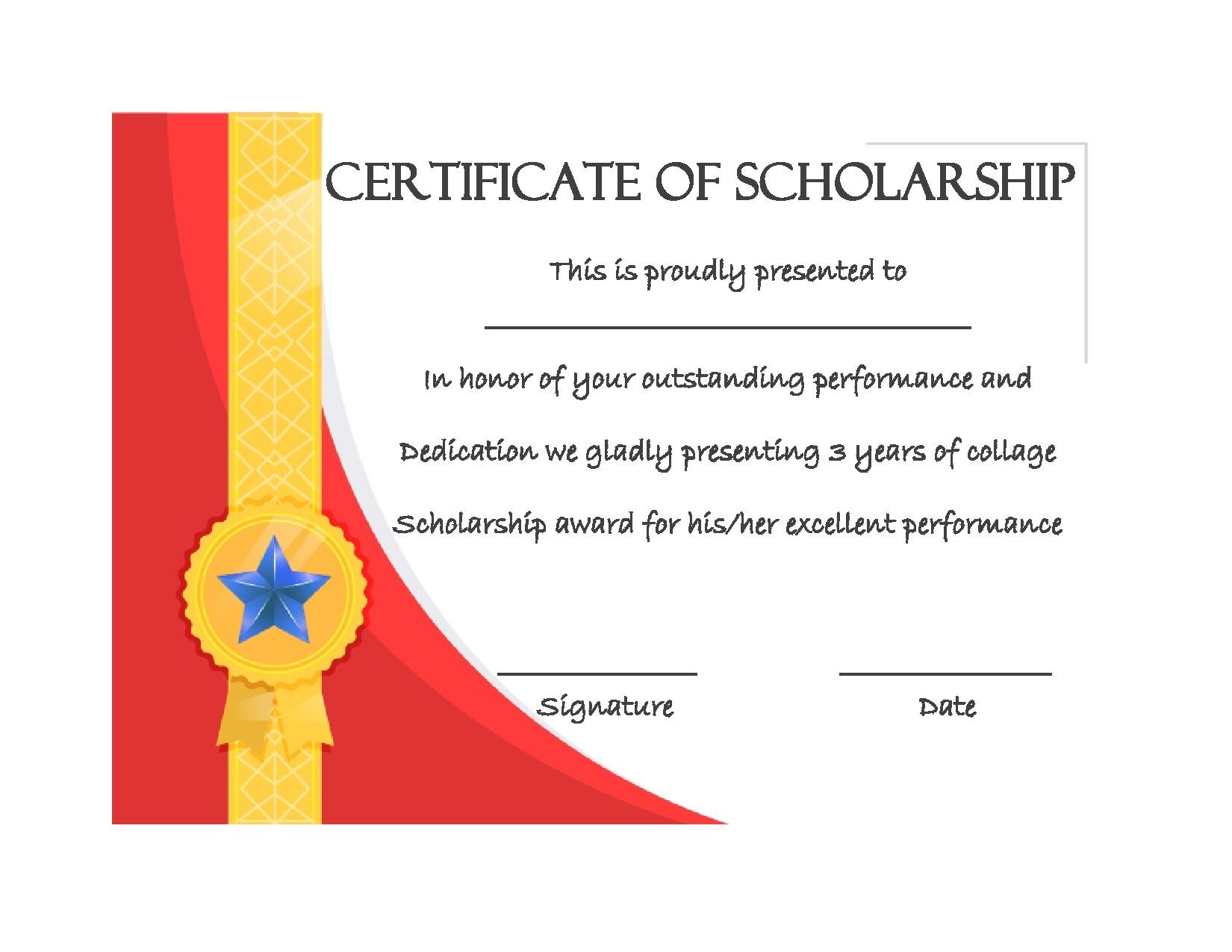 Free scholarship certificate 32