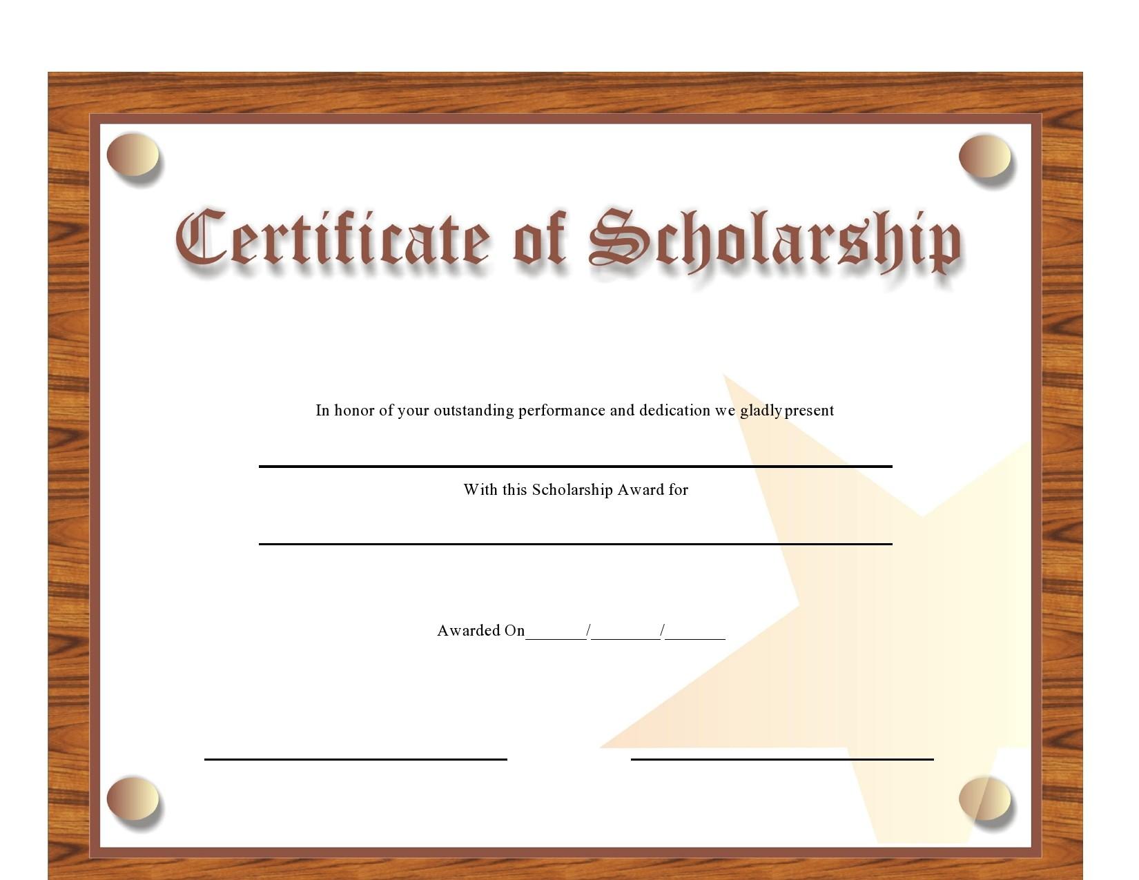 Free scholarship certificate 36
