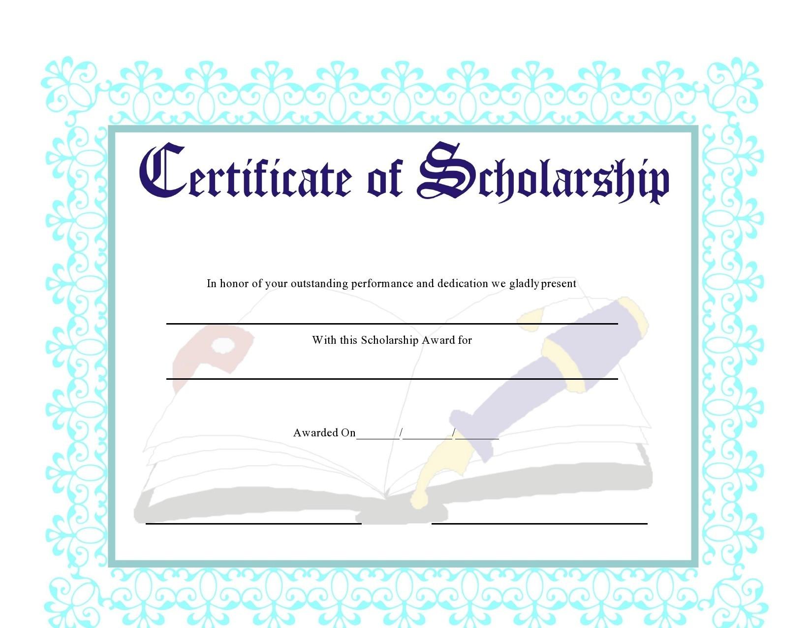 Free scholarship certificate 37
