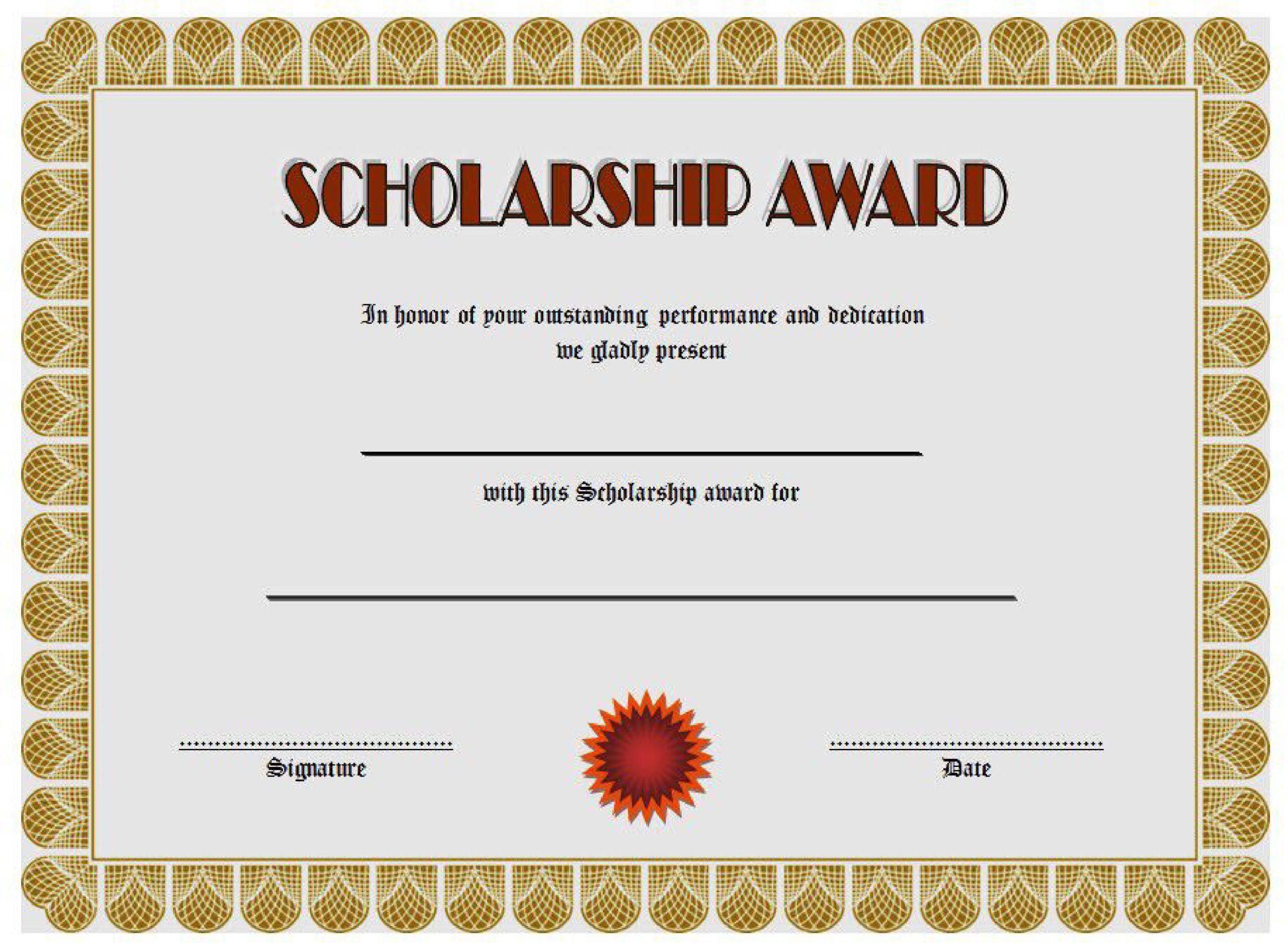 Free scholarship certificate 39