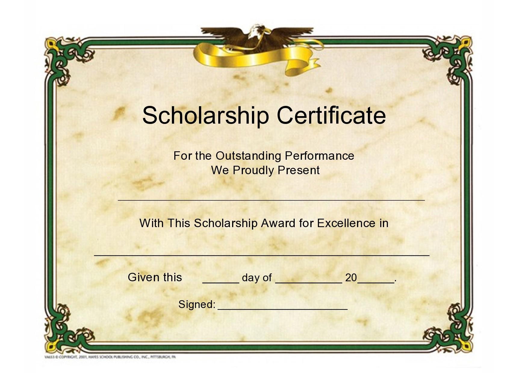 Free scholarship certificate 40