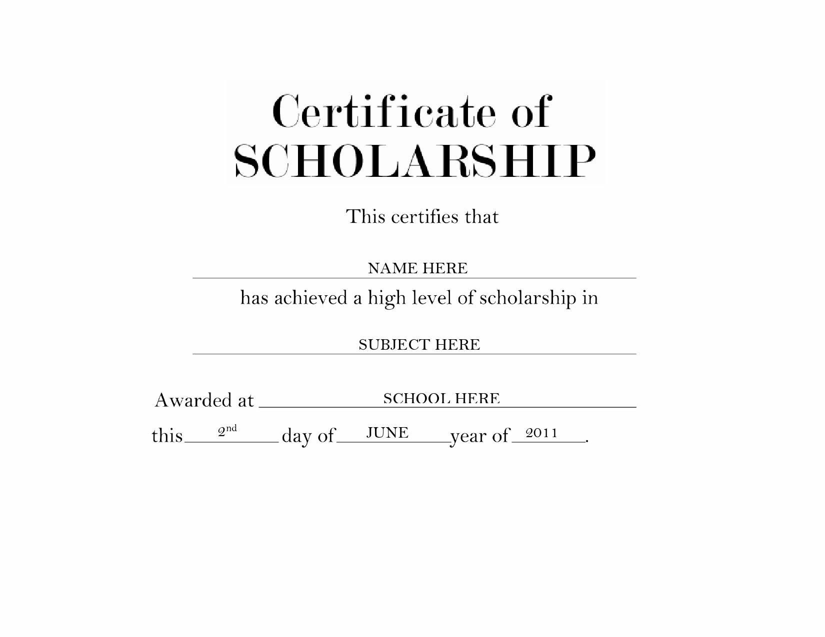 Free scholarship certificate 42