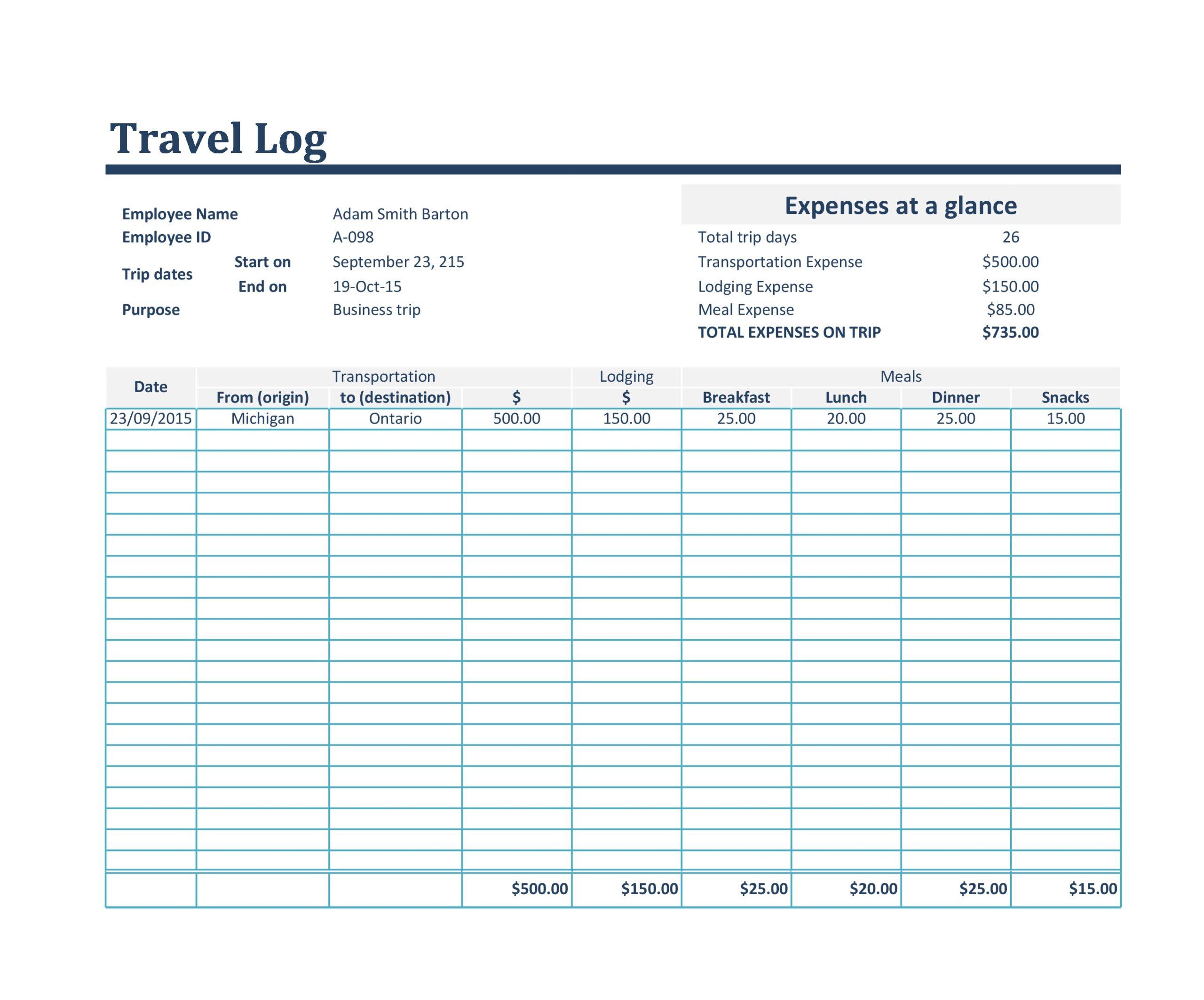 Free travel log 26