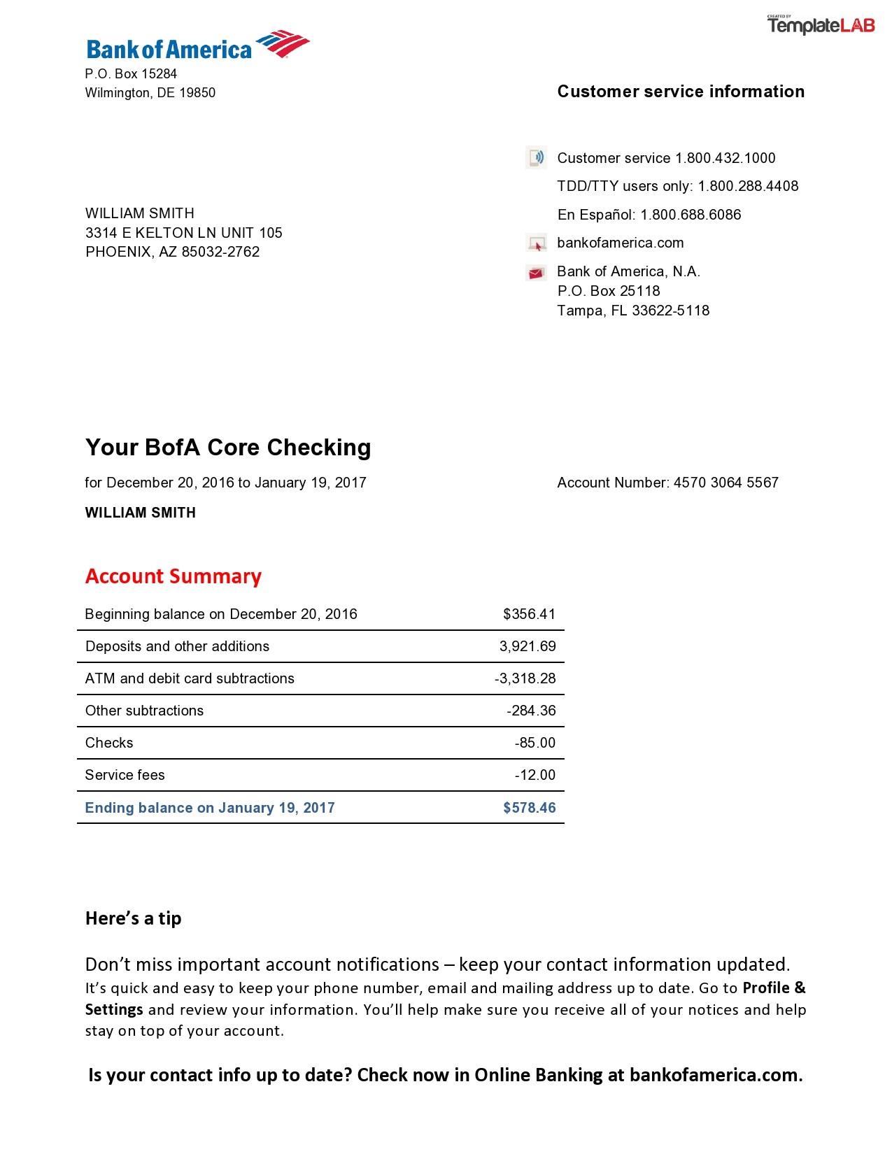 Free Bank of America Bank Statement - TemplateLab.com