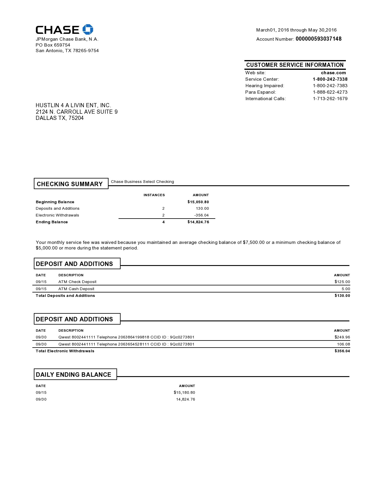 Free Chase Bank Statement - TemplateLab.com