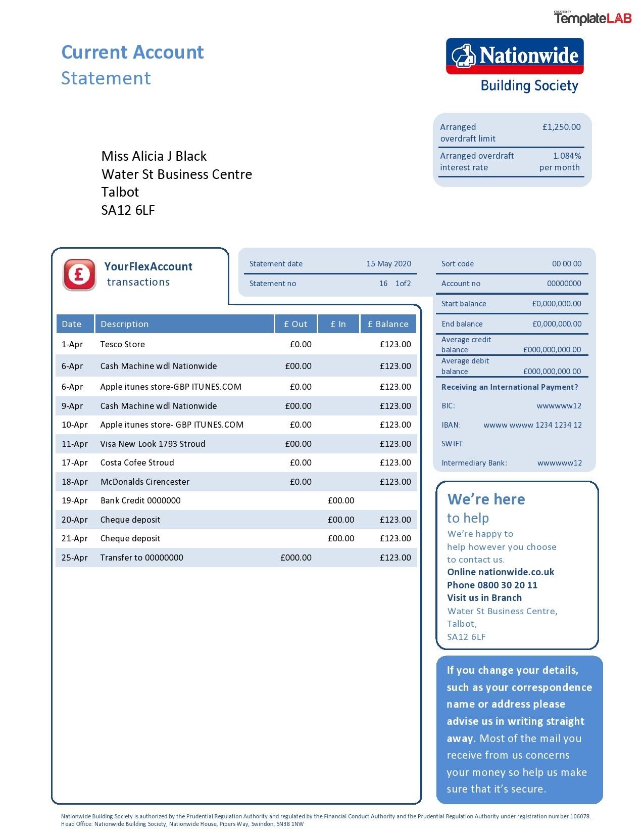 Free Nationwide Bank Statement - TemplateLab.com