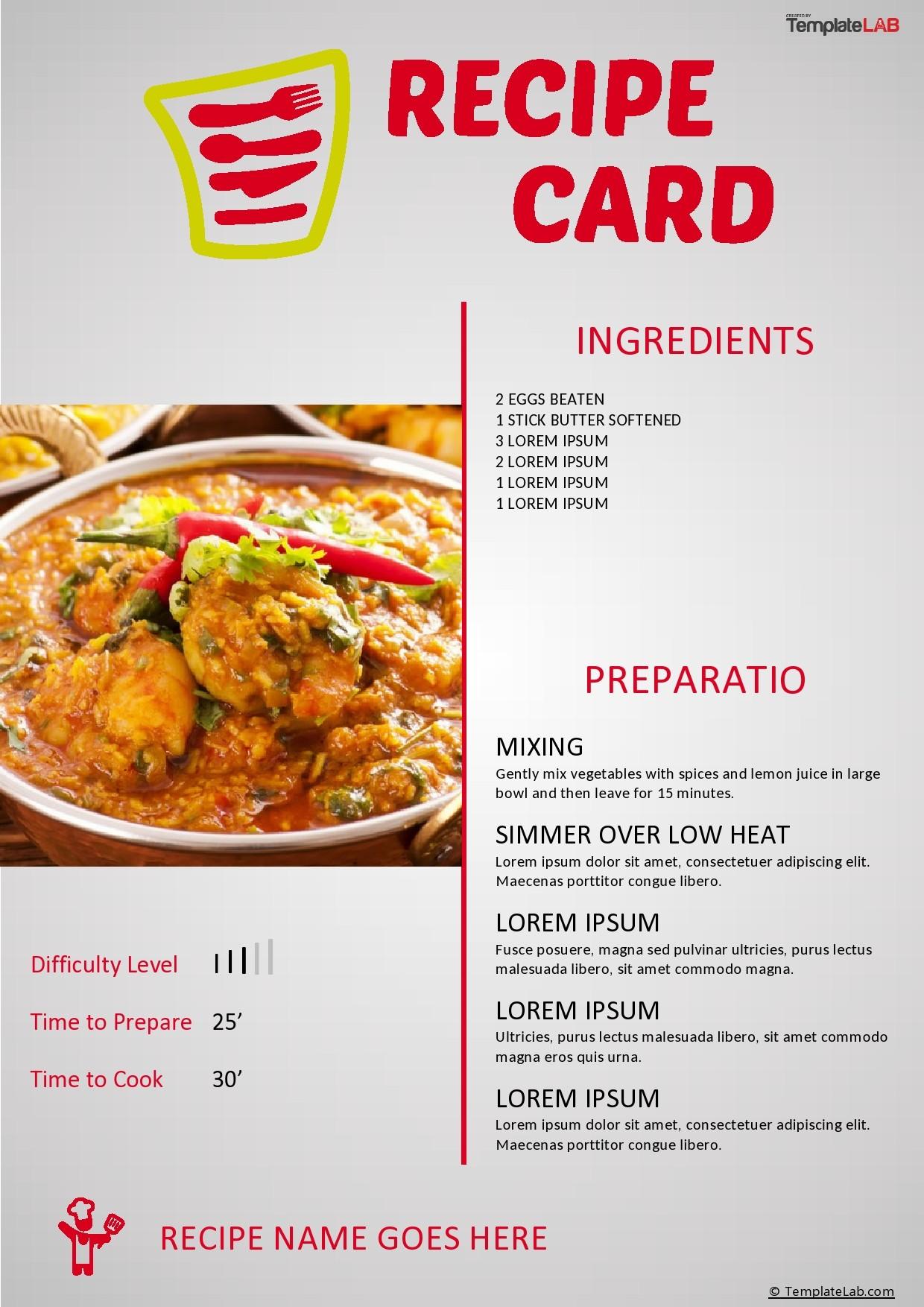 Free Recipe Card Template 03 - TemplateLab.com