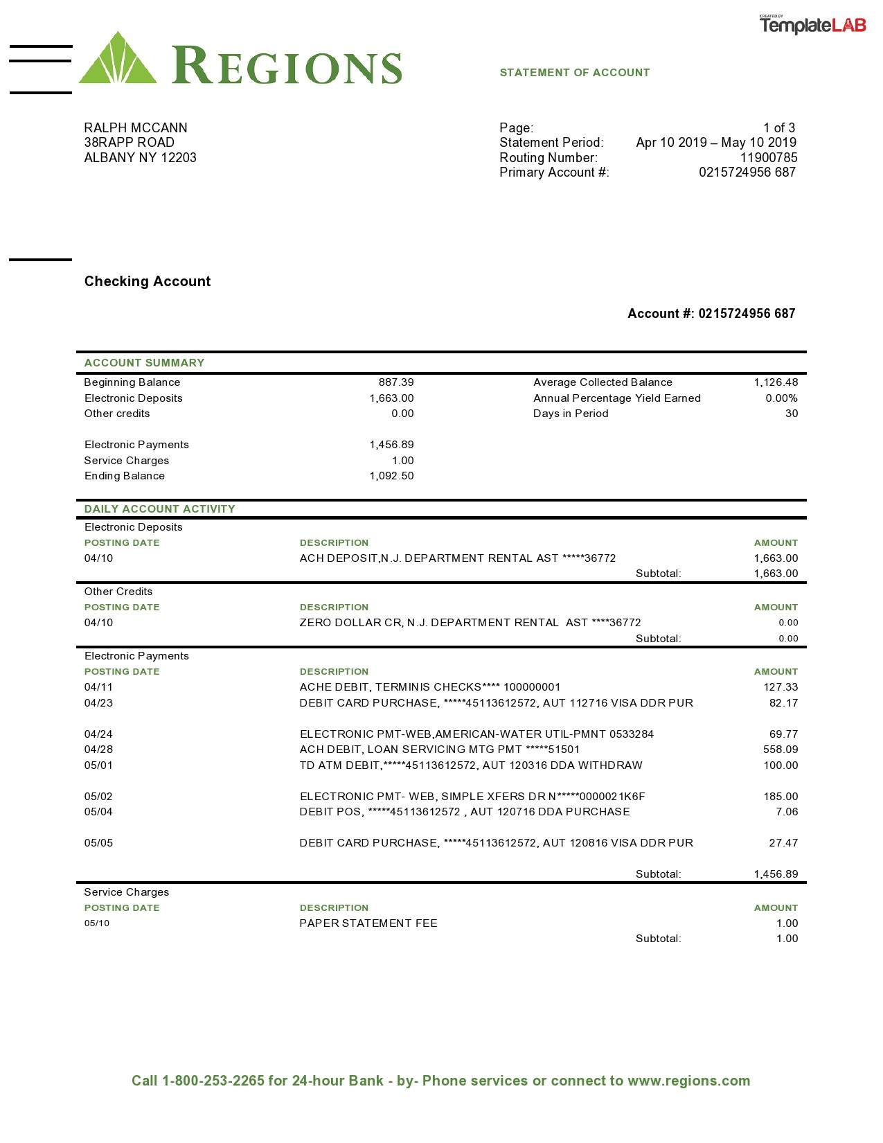 Free Regions Bank Statement - TemplateLab.com