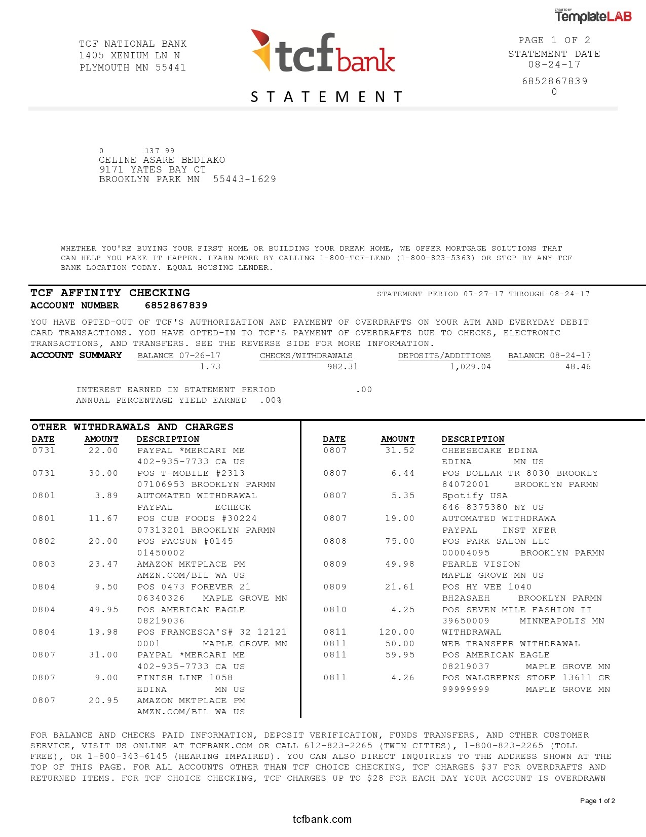 Free TCF Bank Statement - TemplateLab.com