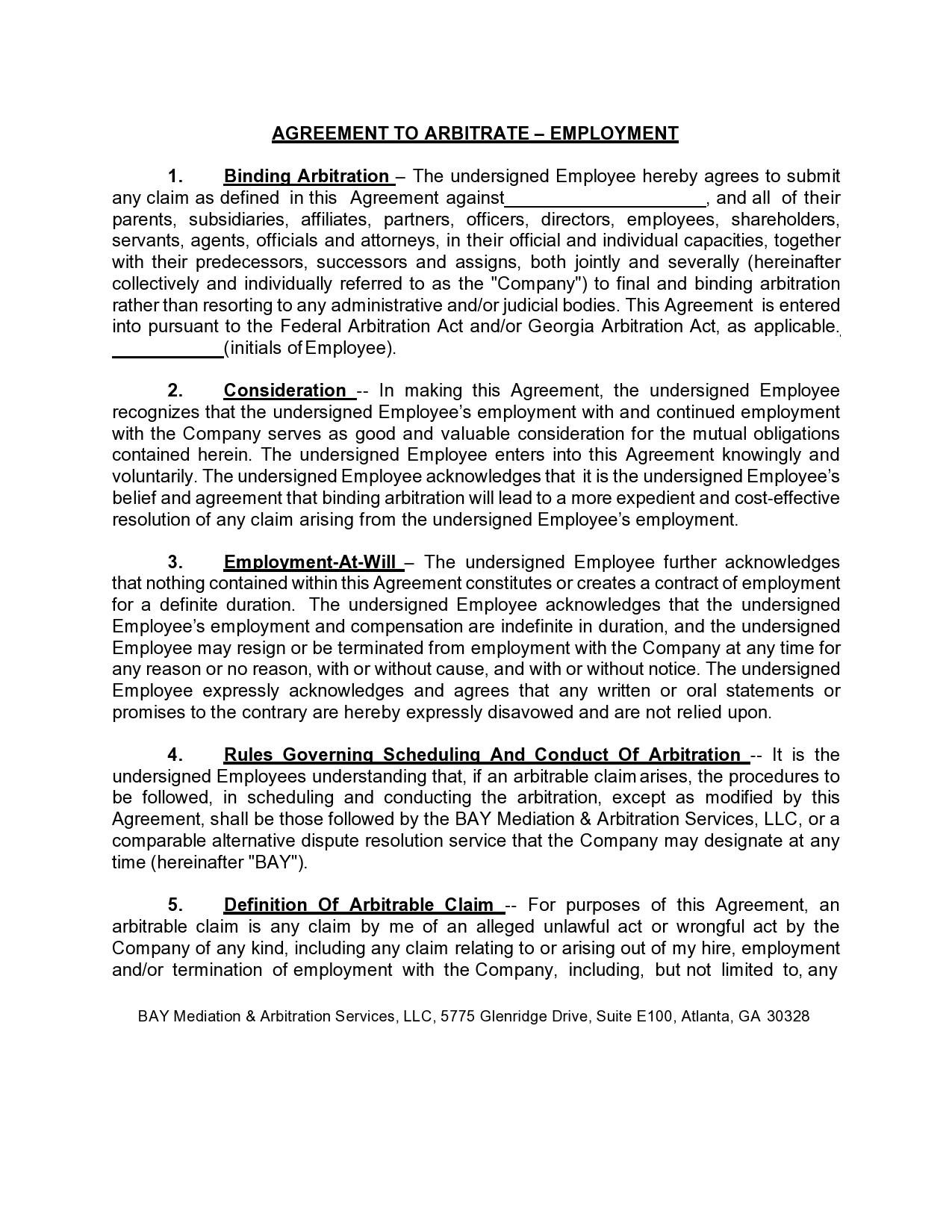 Free arbitration agreement 07