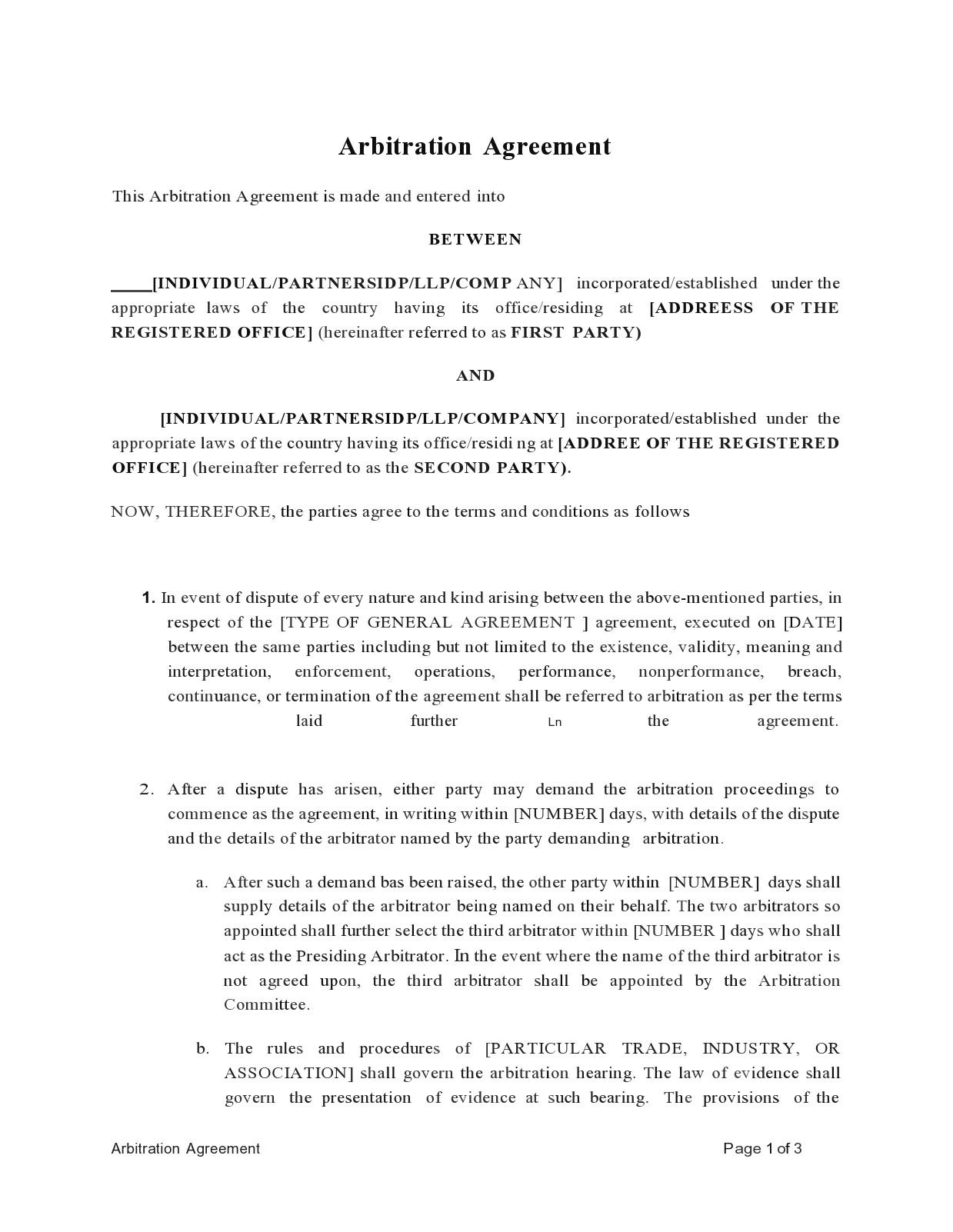 Free arbitration agreement 08