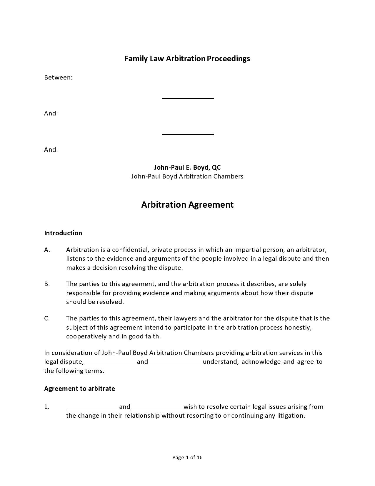 Free arbitration agreement 15
