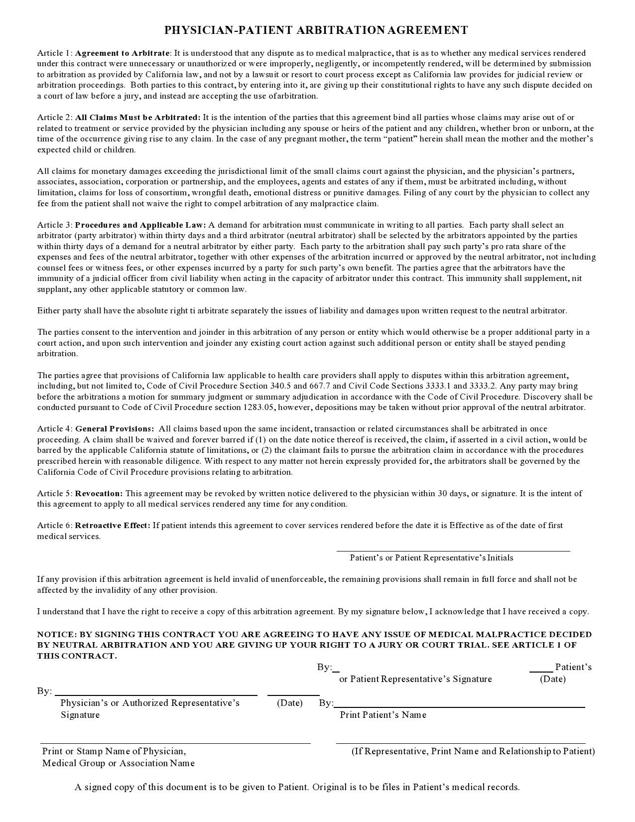 Free arbitration agreement 18