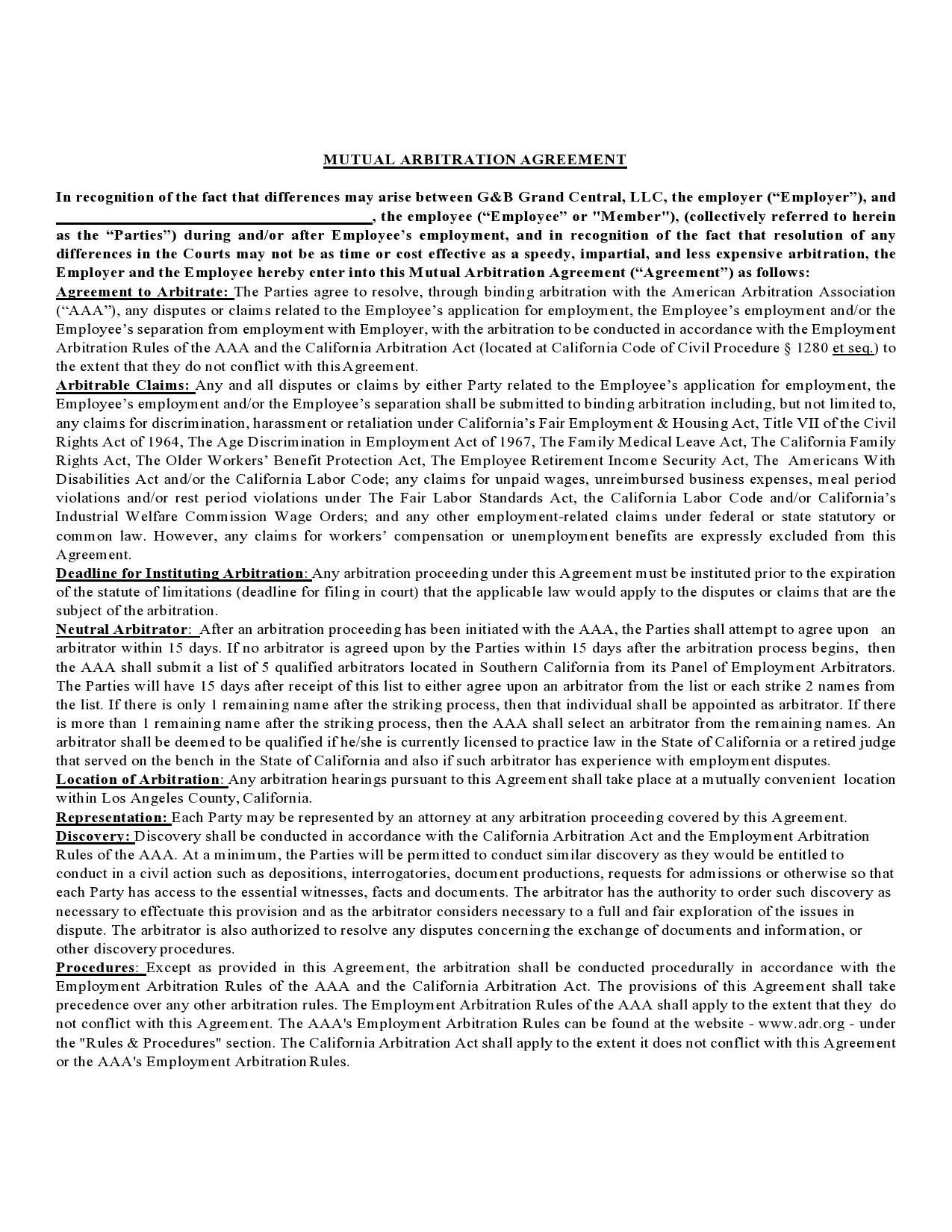 Free arbitration agreement 19