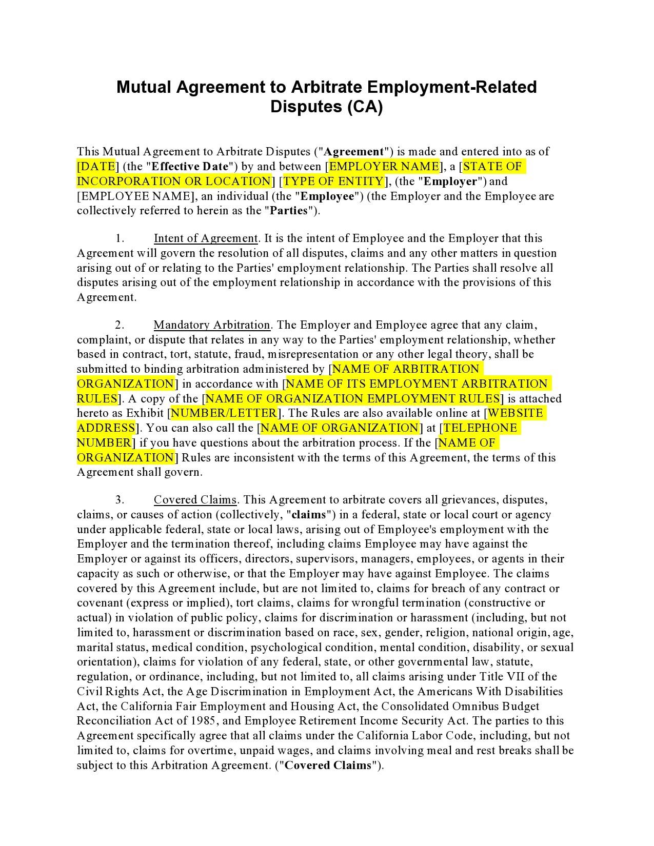 Free arbitration agreement 20